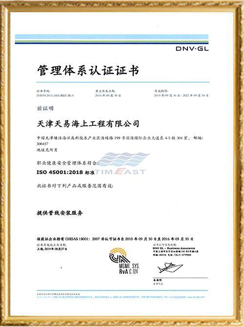 ISO 45001 职业健康安全管理体系认证证书